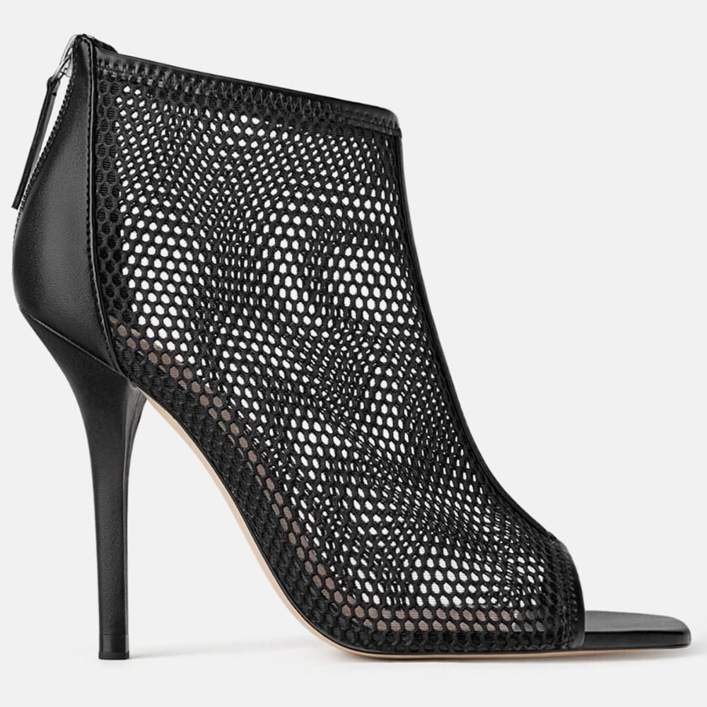 cb3aebde701 ZARA2019New year mesh heel sandals